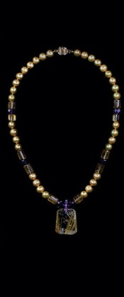Rutilated Quartz Pendant with Gold Pearl and Amethyst Necklace