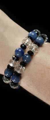 Sodalite and Tumbled Quartz Bracelet