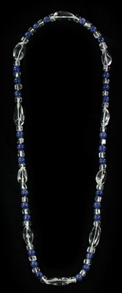Sodalite and Tumbled Quartz Opera Necklace