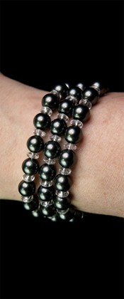 Midnight Shell Pearl Three Strand Bracelet
