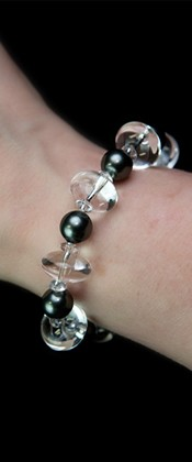 Energy Midnight Shell Pearl and Quartz Bracelet