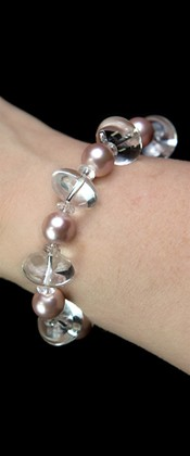 Energy Pink Shell Pearl and Quartz Bracelet
