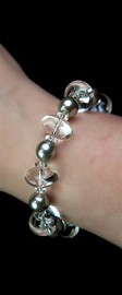 Energy Platinum Shell Pearl and Quartz Bracelet