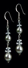 Platinum Shell Pearl and Quartz Earrings
