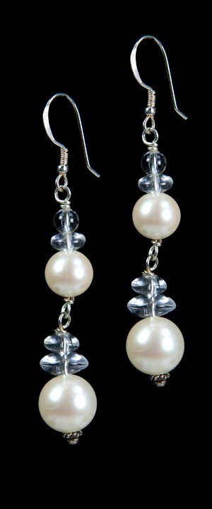 White Shell Pearl and Quartz Earrings