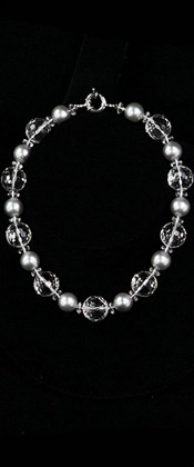 Day and Night Silver Shell Pearl and Faceted Quartz Globe Choker Necklace