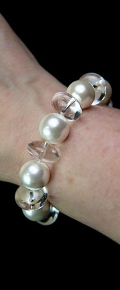 Day and Night White Shell Pearl and Quartz Bracelet