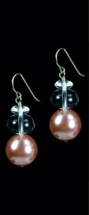Pink Shell Pearl and Quartz Earrings