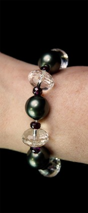 Midnight Shell Pearl with Quartz and Garnet Bracelet