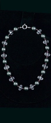 Midnight Shell Pearl with Quartz and Garnet Choker Necklace