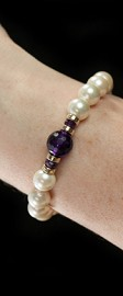 White Shell Pearls with Amethyst and 14K Gold Bracelet