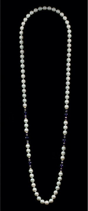 White Shell Pearls with Amethyst and 14K Gold Opera Necklace