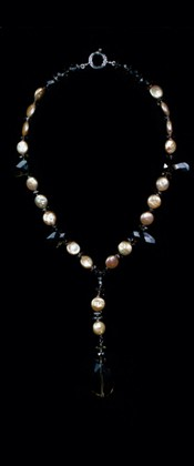 Smoky Quartz Nugget and Coin Pearl Pendant Necklace