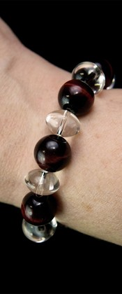 Red Tiger Eye and Quartz Bracelet