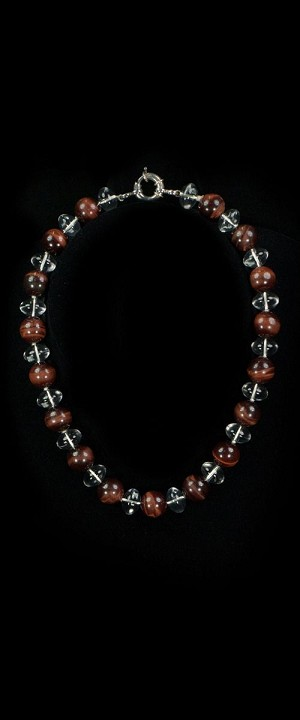 Red Tiger Eye and Quartz Choker Necklace