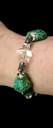 Turquoise Nugget with Quartz and Sterling Bracelet