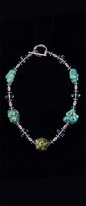 Turquoise Nugget with Quartz and Sterling Choker Necklace