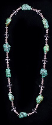 Turquoise Nuggets with Quartz and Sterling Opera Necklace