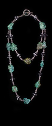 Turquoise Nugget with Quartz and Sterling Choker and Opera Necklace Set