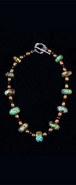 Turquoise Pumpkins with Bronze Pearls Necklace