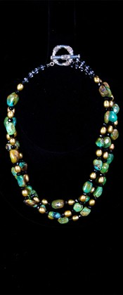 Turquoise Pebbles with Bronze Pearls Torsade