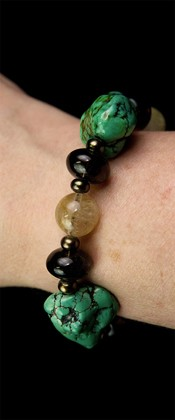 Turquoise Nugget with Rutilated Quartz Bracelet