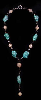 Turquoise Nuggets with Rutilated Quartz Pendant Necklace