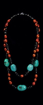 Turquoise Pebbles and Rust Pearls Graduated  Necklace