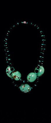 Turquoise Pebbles and Black Onyx Graduated Necklace