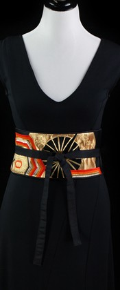 Golden Wheel and Hexagon Reversible Obi Wrap Belt