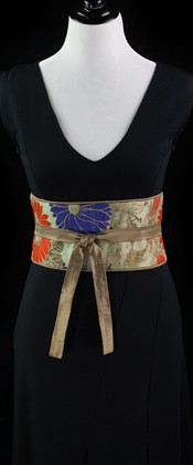 Chrysanthemums and Birds Reversible Obi Wrap Belt