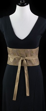 Bamboo and Gold Net Reversible Obi Wrap Belt