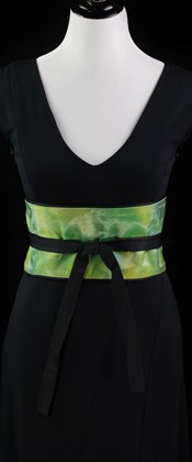 Iridescent Green and Blue Reversible Obi Wrap Belt