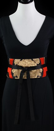 Golden Chrysanthemum Reversible Obi Wrap Belt