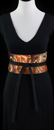 Bronze Arabesque Reversible Obi Wrap Belt