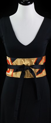 Golden Wheels Reversible Obi Wrap Belt