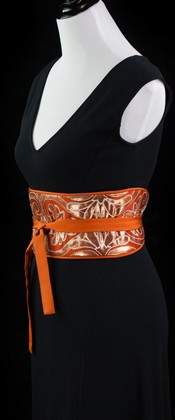 Golden Arabesque on Orange Reversible Obi Wrap Belt