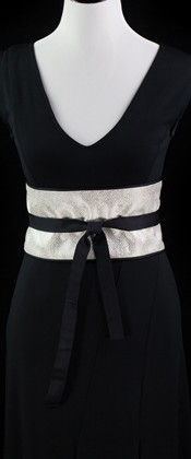 Silver Geometric Reversible Obi Wrap Belt