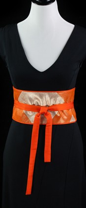 Diamond Inset Reversible Obi Wrap Belt