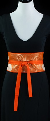 Orange Geometric Reversible Obi Wrap Belt