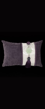 SILVER FLOWING WAVES WITH PURPLE PILLOW