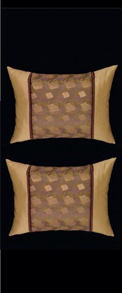 BAMBOO and GOLDEN MESH PILLOW PAIR