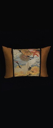 CRANES with WAVES and GOLDEN PINES PILLOW