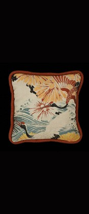 CRANES with WAVES  PILLOW