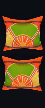 ORANGE and GREEN WHEEL PILLOW PAIR