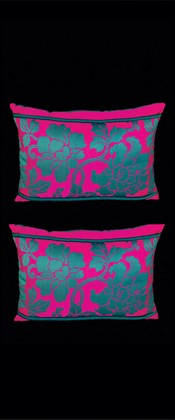 TEAL FLORAL ARABESQUE PILLOW PAIR