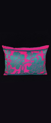 TEAL FLORAL ARABESQUE PILLOW