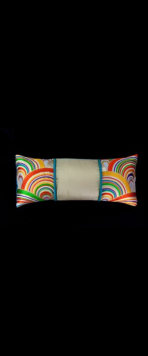 BRIGHTLY COLORED WAVES LUMBAR PILLOW