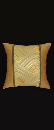 GOLD, SILVER, AND GREEN  WAVE PILLOW