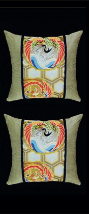 PHOENIX and CRANE with GOLDEN HEXAGON PILLOW PAIR